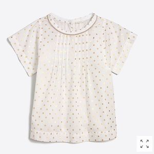 J.Crew Girls Popover Gold Foil Dot Top NWT